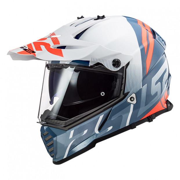 Шлем LS2 MX436 Pioneer Evo Evolve White Cobalt